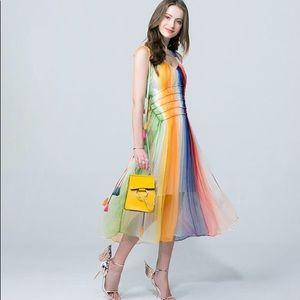NWT Rainbow/multicolor chiffon dress w/ tassels S